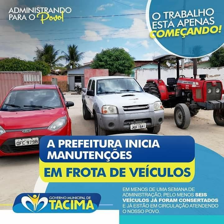 Governo Municipal de Tacima conserta seis veículos que estavam quebrados na Garagem Municipal