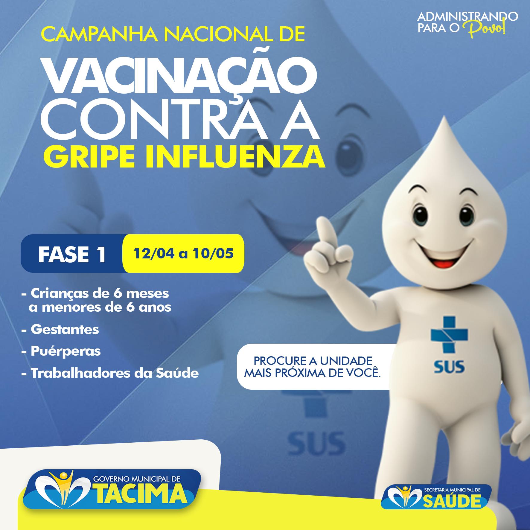 PREFEITURA DE TACIMA INICIA NESTA SEGUNDA-FEIRA A CAMPANHA DE VACINAÇÃO CONTRA A INFLUENZA.