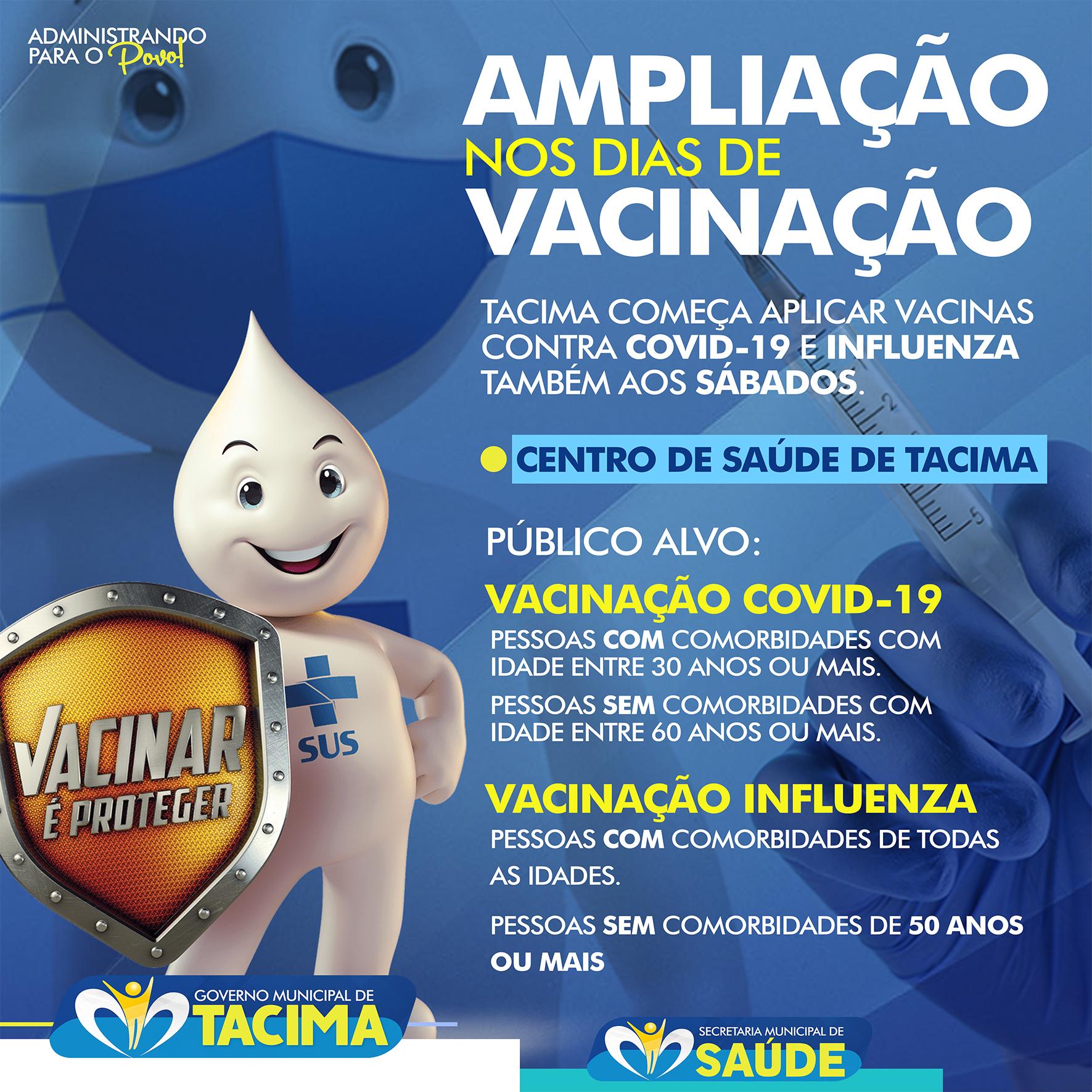 Prefeitura de Tacima amplia os dias de vacinação contra a Covid-19 e gripe influenza passando a vacinar também aos sábados.  Procure o nosso Centro de Saúde e vacine-se!