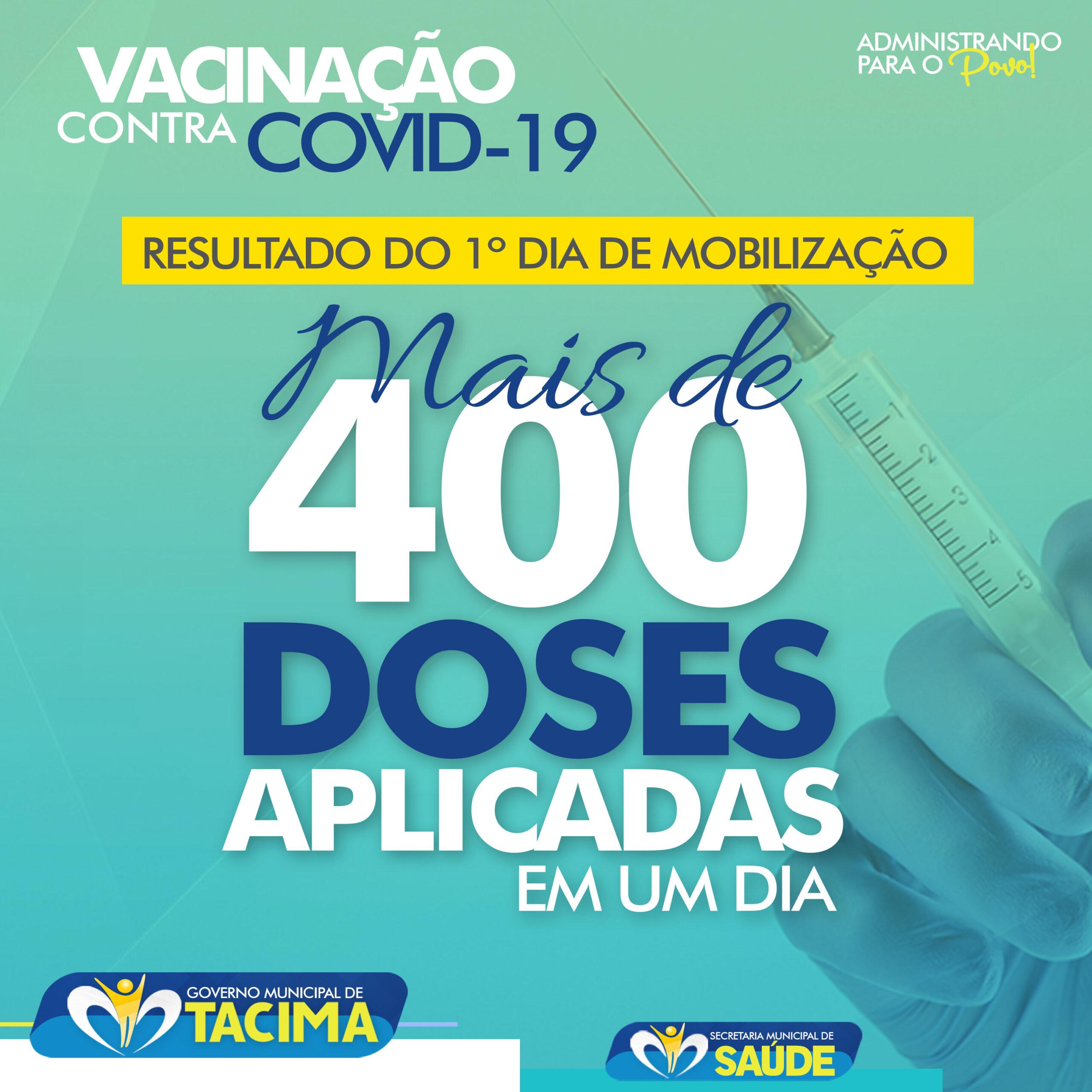 Tacima aplica em um único dia mais de 400 doses de vacina contra a covid-19.