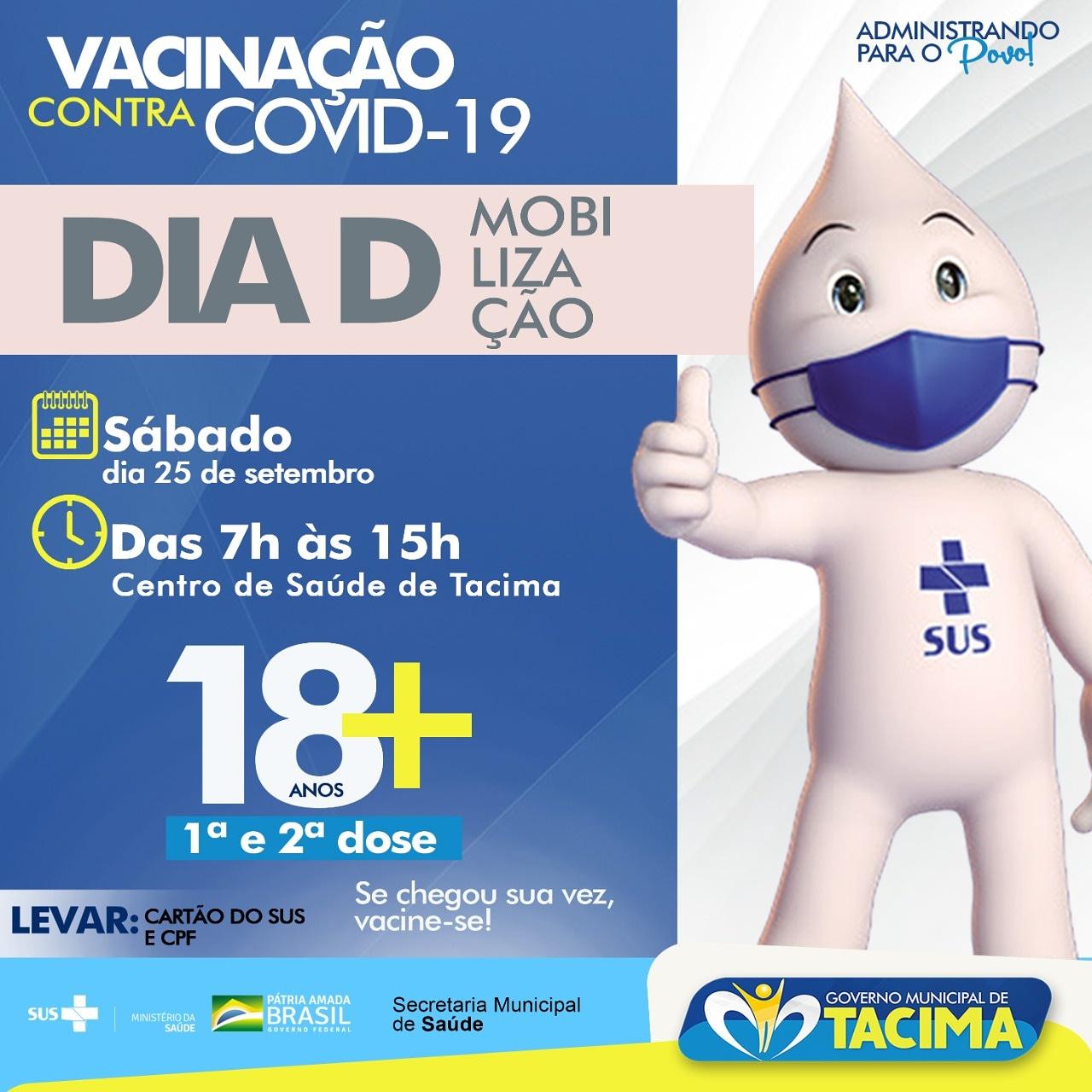 Tacima realiza Dia D de Vacinação contra a Covid-19 neste sábado.